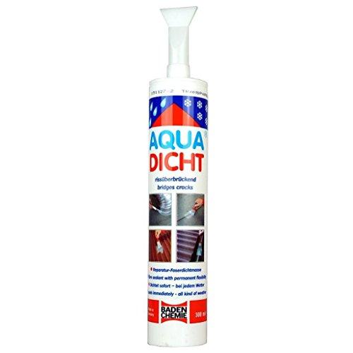 Aqua Dicht TRANSPARENT 300 ml mit Spachtelaufsatz Streichbare elastische Reparatur Dichtmasse mit Fasern verstärkt für nasse und trockene Untergründe bei jedem Wetter