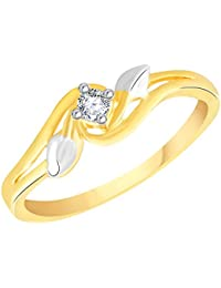 VK Jewels Single Stone Gold and Rhodium Plated Alloy Ring for Women & Girls Made With Cubic Zirconia- FR2607G [VKFR2607G]
