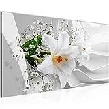 Bilder Blumen Lilie 3D Wandbild 100 x 40 cm Vlies - Leinwand Bild XXL Format Wandbilder Wohnzimmer Wohnung Deko Kunstdrucke Weiß 1 Teilig -100% MADE IN GERMANY - Fertig zum Aufhängen 210312a