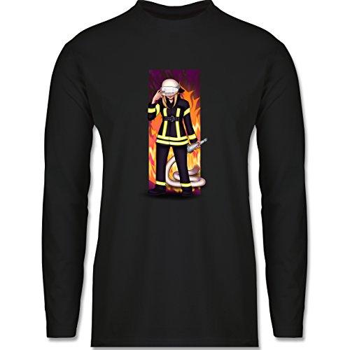 Feuerwehr - Coole Feuerwehrfrau - Longsleeve / langärmeliges T-Shirt für Herren Schwarz