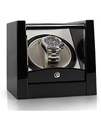 Klarstein 8PT1S Uhrenbeweger Uhrenbox (für 1 Uhr, linkslauf/rechtlauf, Sichtfenster, Kunstleder Inlay, flüsterleiser Motor) schwarz-Pianolack