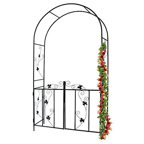 Arco per rose e piante rampicanti con cancello in acciaio, 110 x 214 x 38 cm | arco, arco a rosa, supporto decorativo per rose, supporto per piante rampicanti