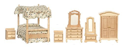 Melody Jane Puppenhaus 1:24 Maßstab Miniatur Eiche Baldachin 4 Poster Bett Schlafzimmer Möbel Set - Schlafzimmer Möbel Baldachin