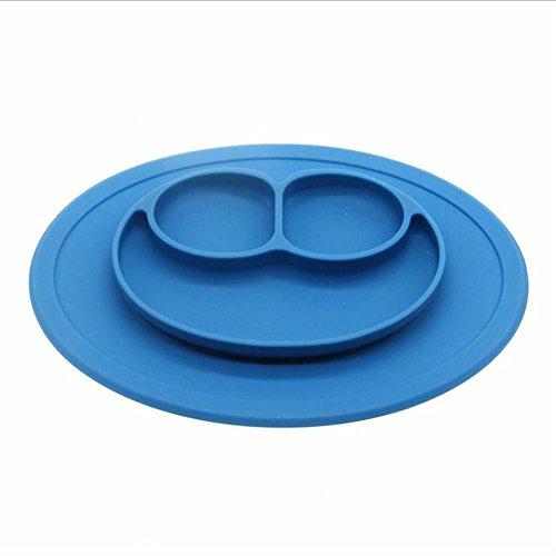 LZHA Rundes Silikon-Frosch-Saug-Tischset Für Kinder, Kinder, Kleinkinder, Baby-Hochstuhl, Der Behälter Oder Küchen-Speisetisch Einzieht,Blue