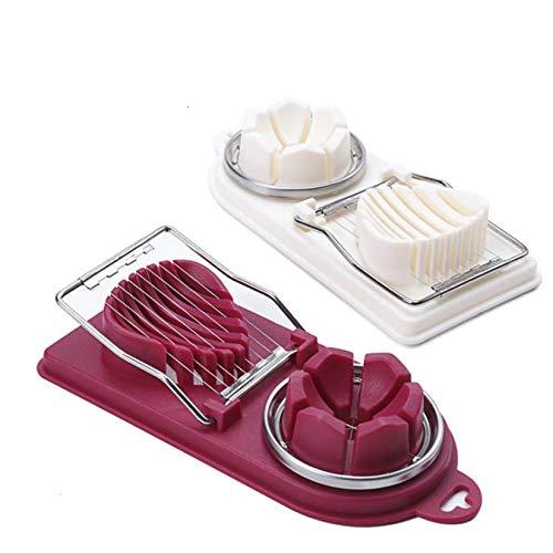 Gshy Eierschneider, manuell, Eierschneider, doppelter Schnitt, Kunststoff, für Eier, Kochen, Werkzeug, 1 Stück, zufällige Farbe