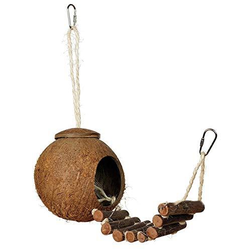 PeanutaocAC Bequemer niedlicher Entwurf natürliche Kokosnuss-Schale Vogel-Verschachtelungs-kleines Haustier-Sittich-Fink-Spatzen-Käfig mit Leiter -
