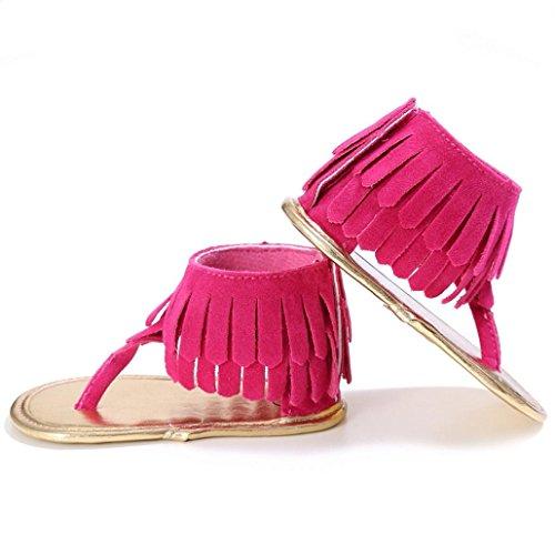 BZLine® Frange Bébé Fille Chaussons Souple en PU Cuir, Anti-glissant (12~18Mois, Pink) Rose