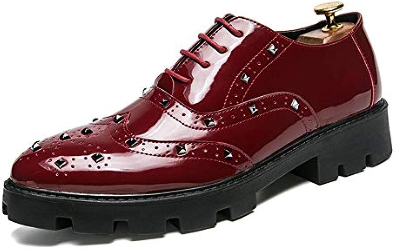 Business Casual da Uomo Oxford Rivetto Fondo Spesso con Scarpe Brogue in Pelle Verniciata Scarpe da Cricket | Affidabile Reputazione  | Maschio/Ragazze Scarpa