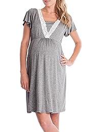 Topgrowth Vestito da Pigiama Abito per Allattamento Vestito Premaman Casual  Madre Pigiama Camicia da Notte 8b692baed0c