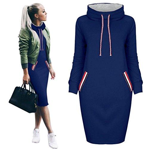 Vestido casual de la camisa del invierno de las mujeres Vestido de manga larga para mujer Sudadera con capucha Mujeres By LMMVP (L, Azul)