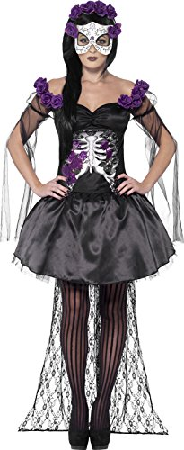 er Toten Senorita Kostüm, Oberteil, Rock, Rosen Stirnband und Latex Maske, Größe: L, 43737 (Hallowee N)