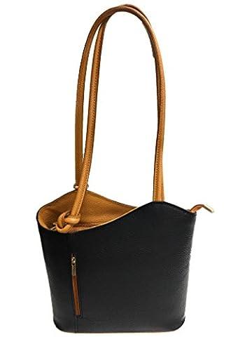 Damen Leder Handtasche Umhängetasche mit Reißverschluss (schwarz/braun)