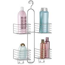 mDesign Estantería ducha sin taladro - 4 cestas– Accesorios ducha para organizar productos de higiene
