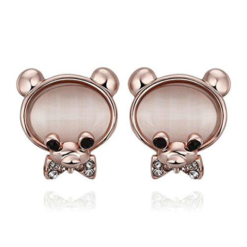 Gnzoe Gioielli 18K Oro Rosa Placcato Stud Orecchini Donna Bowknot Mouse Opal Eco Amichevole