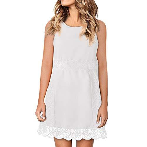 Damen Spitzenkleid einfarbig ärmellose Weste Kleid Rundhals kurzen Absatz Casual Sommer Mini gerade Kleid Sonojie