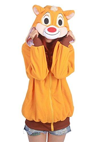 Wamvp Kigurumi Damen Sweatshirt Pullover Zip-Hoodie Tier Cosplay Karnevalskostüme -Eichhörnchen XL