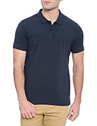 Deezeno Black / Blue Round Neck With Collar & Button Half Sleeves Regular Fit Polo T-Shirt For Men & Boys