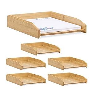 Relaxdays 6 x Dokumentenablage, stapelbar, DIN A4 Papier, Büro, Schreibtisch, Briefablage aus Bambusholz, 6 x 25 x 33 cm…