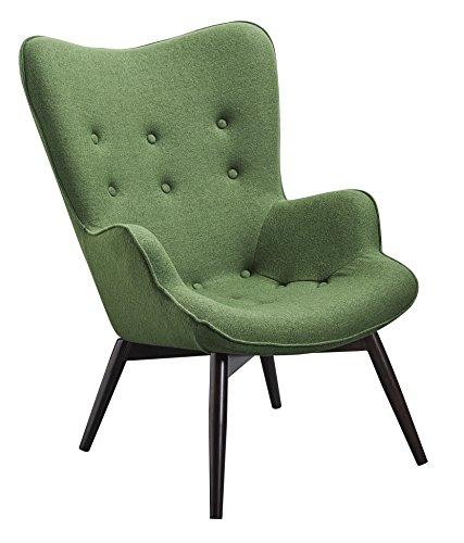 Designer Ohren-Sessel mit Armlehnen aus Webstoff in Tannengrün | Anjo | Club-Sessel im Retro-Design | Gestell aus Holz in Schwarz-Braun | 68 x 41 x 92 cm