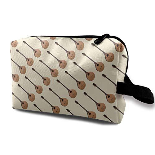 Bouzouki Music Pattern Small Cosmetic Bags Travel Makeup Bag Fashionable Organizer For Women Girls