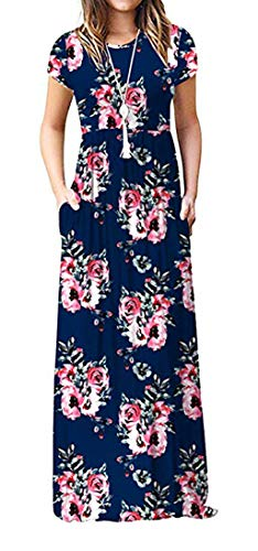 Rosen Langes Kleid (ZIOOER Damen Sommerkleider Casual Lose Printed Freizeitkleider Kurzarm Maxikleider Kleider Lange Kleid Abendkleid mit Taschen Rose-Navy L)