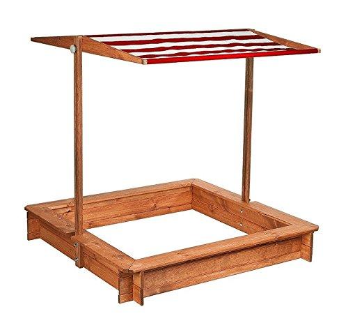 Preisvergleich Produktbild Impag Sandkasten Sandkiste wetterfest lasiert mit weiß / rotem Dach und Abdeckung 120 x 120 cm - Inkl. Folie gegen Unkraut