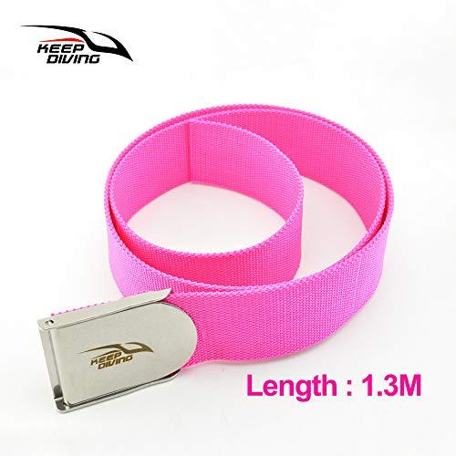 ETbotu Tauchgürtel Tauchen Schwerer Gürtel Bleiblock Gewichtsgürtel Schwimmen Tauchzubehör Rosenrot 1,3M