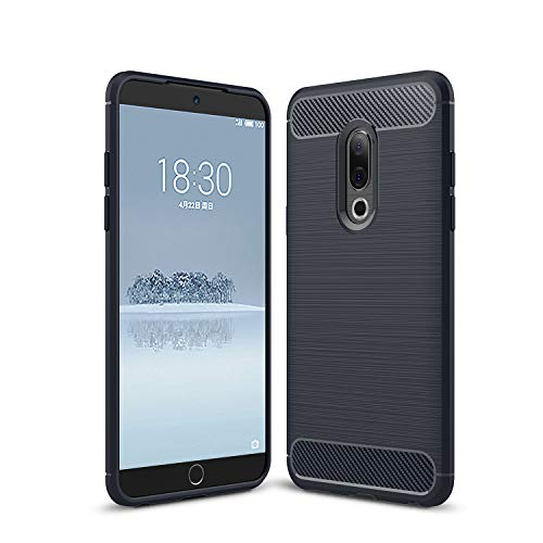 SsHhUu Meizu 15 Plus Hülle, Carbon Fiber Design Look Ultra Slim Leicht Anti-Scratch Stoßfest Hülle Gummi TPU Phone Case für Meizu 15 Plus 2018 (5.95