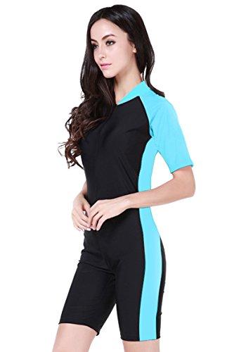 Damen Schwimmanzug Lang UV-Anzug UPF>50 Schutzkleidung Sunsuit Ganzk?rperansicht Badeanzug,  - Blau-2 - S
