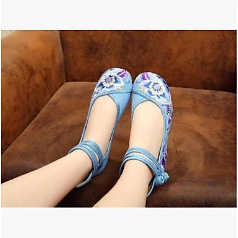 RTRY Las Mujeres'S Wedding Shoes Confort Confort Informal De Primavera De Tela Azul Beige Ruby 2A-2 3/4 Pulg Us5.5...