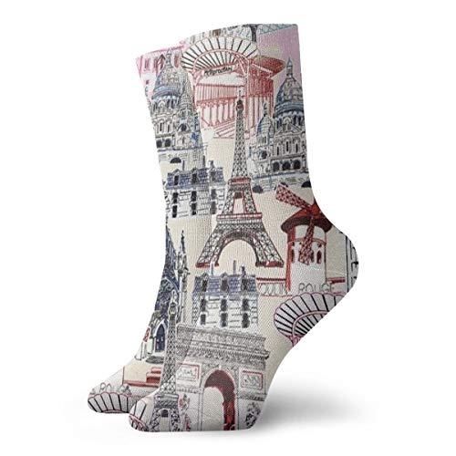 Bidetu Urlaub Paris französische Malerei Kunst gedruckt lustige Neuheit Tier lässig Baumwolle Crew Socken 11.8inch - Französisch-kunst-malerei