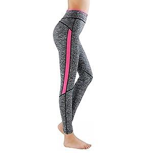 L&K-II leggins para damas pantalones deportivos largos para Training Running Yoga Fitness transpirables con cintura alta 4113 Rosa S/M