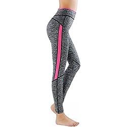 L&K-II leggins para damas pantalones deportivos largos para Training Running Yoga Fitness transpirables con cintura alta 4113 Rosa L/XL