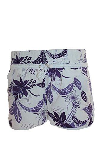 L.S Teenager, Damen Badeshorts VERSCHIEDENE FARBEN mit Blumen Hawaii Muster, Hot Pants, Hipster Lila