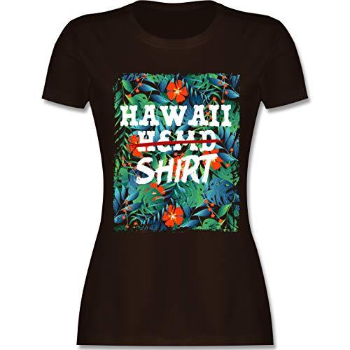 Karneval & Fasching - Hawaii Hemd Shirt - XL - Braun - L191 - Damen Tshirt und Frauen T-Shirt