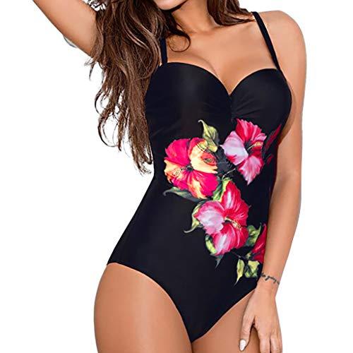 Masoness ❤️❤️ Sexy One Pieces Bikini für Damen, Vintage-Bikini mit Blumendruck und gepolsterter, rückenfreier Caims Slim-Badebekleidung, Sonnenkleid, Maxikleid mit Blumenmuster, Strandkleid