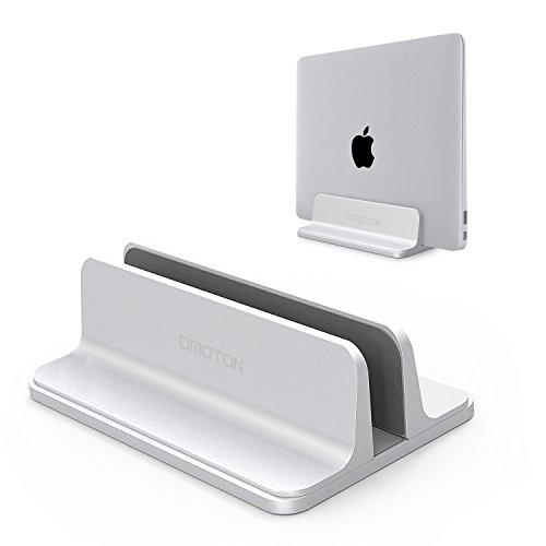 OMOTON verstellbarer vertikalen Laptop Ständer, Aluminium Platzsparender Ständer für alle Handys und Notebooks - Perfekt für Macbook, MacBook Air, MacBook Pro, Ultrabook, Lenovo und andere, silber (Verstellbarer Laptop-schreibtisch)