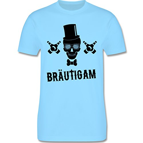 JGA Junggesellenabschied - Bräutigam Totenkopf - Herren Premium T-Shirt Hellblau