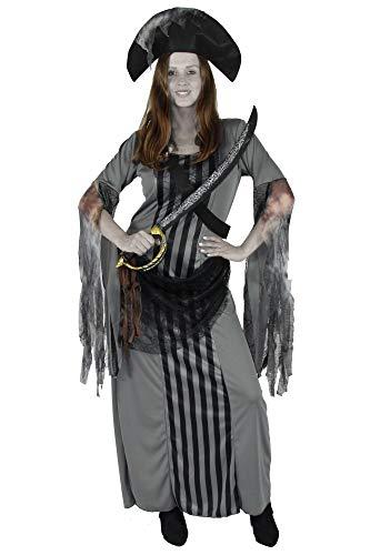 Foxxeo Geister Piratenbraut Ghost Braut Pirat Damen Kleid lang grau Karneval Fasching Halloween Größe XXXL