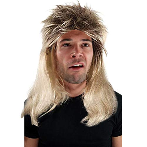 SIOPEW PerüCke PerüCke Herren Rocker Deutscher Karne Party Wig Gold Brown Wig Type Mullet Proll Prolet Assi