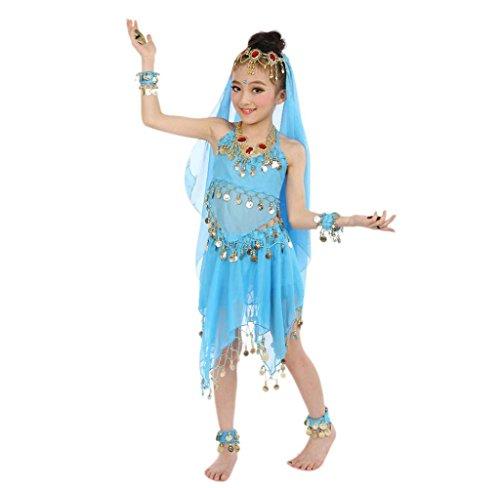 Amcool Kinder Handgefertigte Bauchtanz Kostüme Ägypten Tanz Tuch (Freie Größen, Hellblau) (Kind Tanz Kostüme)