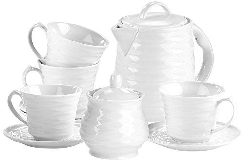 Rosenstein & Söhne Keramik-Geschirr: Porzellan-Kaffee- & Tee-Service, 10-tlg, für Wasserkocher WSK-270.rtr (Keramikservice) Tee-service-sets