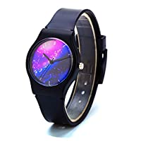 Zeiger New Cool Kids Watch Analog Easy Read Boys Watch Lovely Time Teacher Girls Teen Wristwatch with Star Sky Case (Black1)