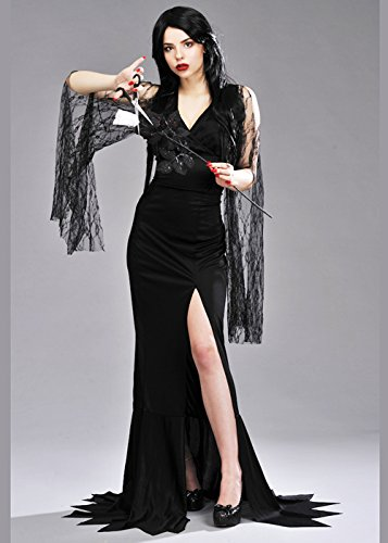 Womens Morticia Style Halloween Kostüm Medium (UK 12-14)