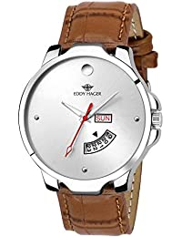 Eddy Hager Sliver Round Dial Day And Date Men's Watch_Eh-140-Br
