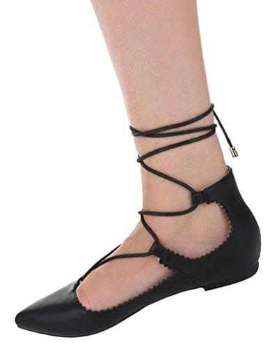 Damen Ballerinas Schuhe Loafers Slipper Slip-on Flats Gladiator Pumps Schwarz Weiß 36 37 38 39 40 41 Schwarz
