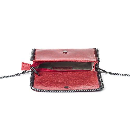 Almo - Borsa in pelle da donna made in Italy, a tracolla o a spalla Rosso