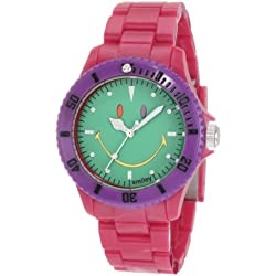 "The Original Iconic Smiley ""Happy Time"" Watch - Colour Block Collection - Red Polycarbonate Strap with Green Face"