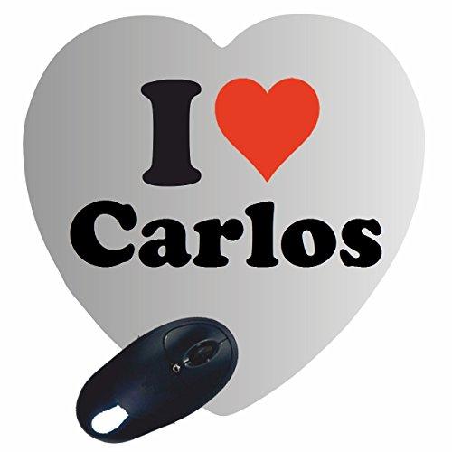 """Preisvergleich Produktbild Exklusive Geschenkidee: Herz Mauspad """"I Love Carlos"""" eine tolle Geschenkidee die von Herzen kommt- Rutschfestes Mousepad- Weihnachts Geschenktipp"""