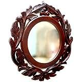 Amaze Shoppee Large Round Mirror, Wall-Mounted Wooden Frame Vanity Mirror (40 cm Round)